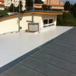 Rekonstruovaná čast střechy z PVC Sikaplan 15g